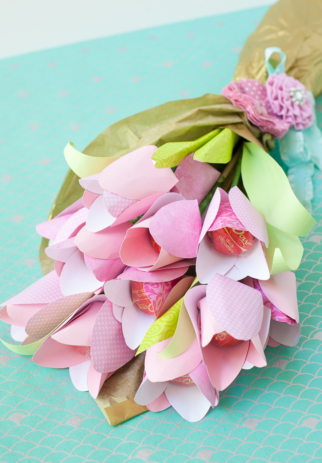 Paper Flowers With Chocolate Centers Make