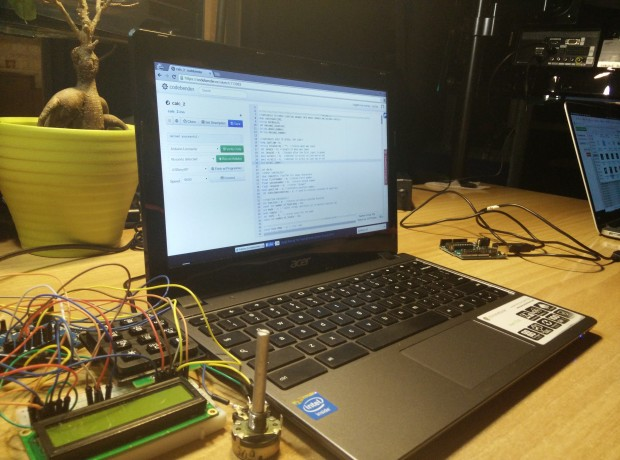 Codebender on a Chromebook connected to an Arduino project.