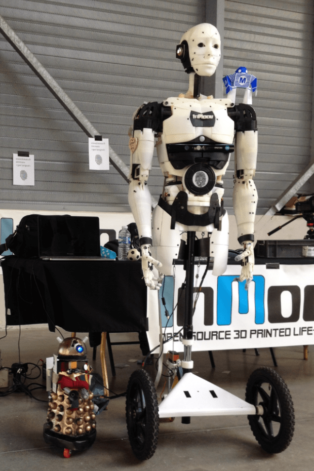 Gaël's original InMoov, now with temporary wheeled base, at Maker Faire St Malo 2015.