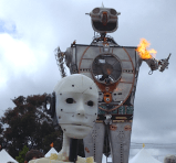 InMoov takes a selfie with the 30-foot tall Robot Resurrection.