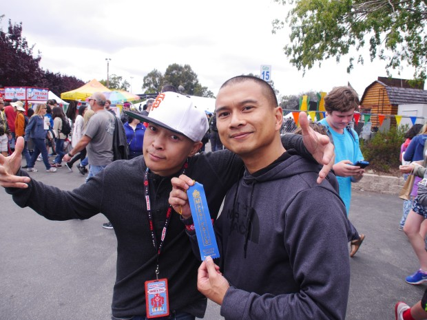 DJ Qbert & DJ YogaFrog with their Editor's Choice Blue Ribbon