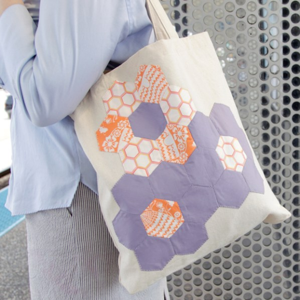 English Paper Piecing: Quilted Flower Tote