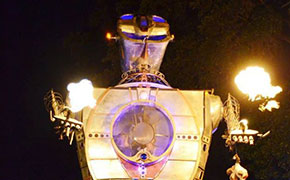This 30'-Tall Flame-Spewing Robot Is Made From Recycled Airplanes