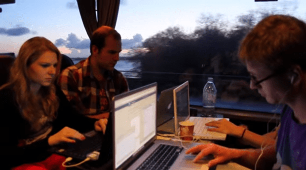 StartupBus participants at work, 2012
