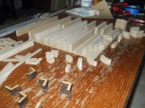 All of the main cabin rib parts were cut on the Laser Cutter.Here they're all laid out and ready to be assembled.
