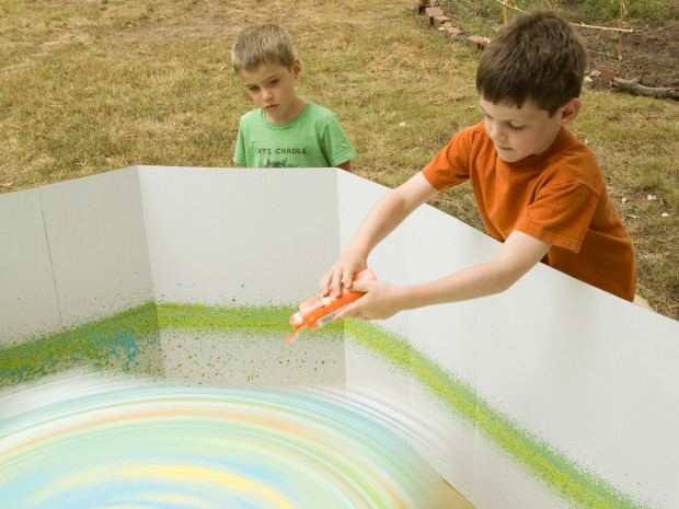 Giant Spin Art — Head to the backyard and use a power drill to make large-scale spin art using full size canvases.