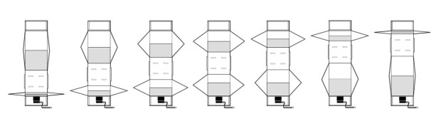 An illustration of the various positions of the Sarrus linkage.
