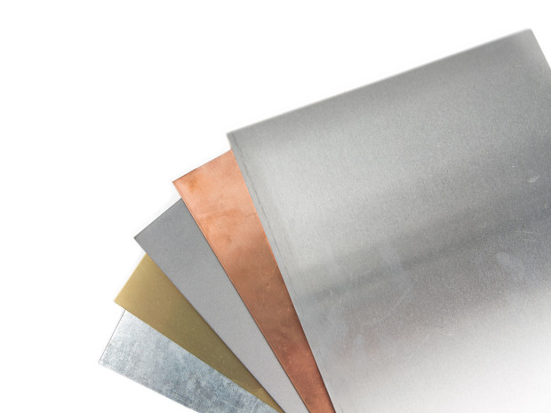 from left to right galvanized steel brass steel copper aluminum