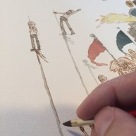 """""""I liked painting these pole lines for some reason. Long relaxing janky lines."""""""
