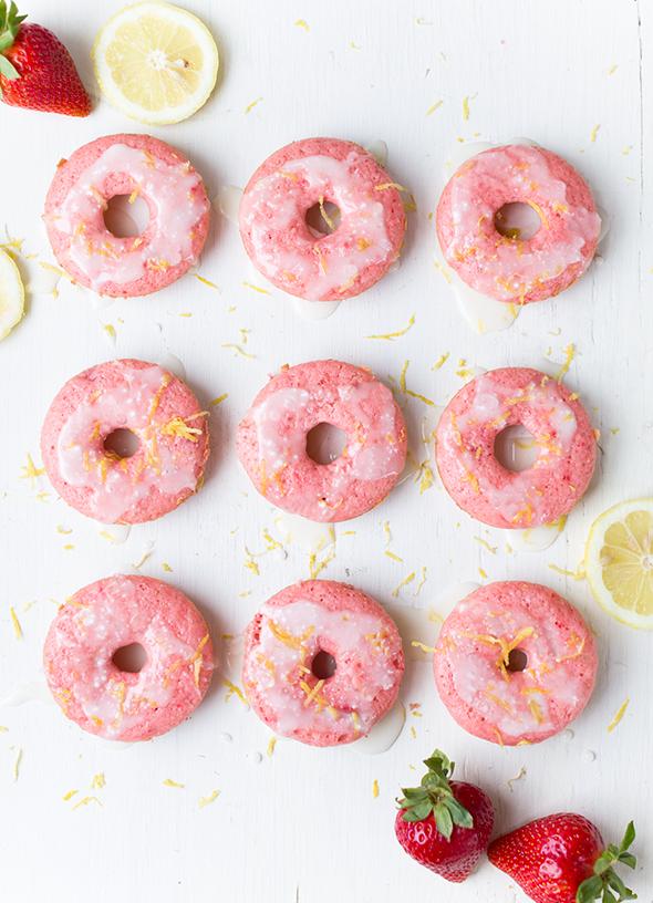 Donut Day Inspiration: Baked Strawberry Lemonade Cake Donuts