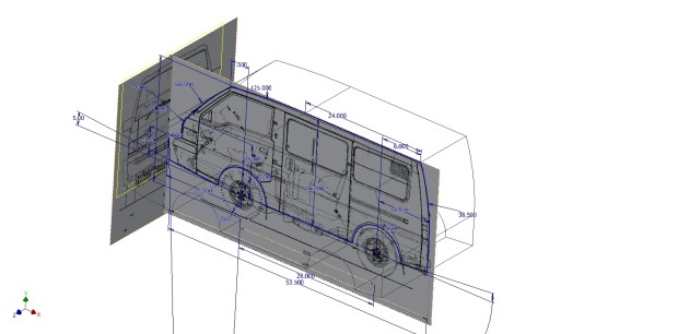 Drawings of full-size van imported and scaled for tracing.