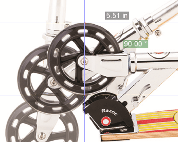 Using the scooter's 140 mm (~5.51 in) diameter wheel as a reference, I was able to measure critical parts of the scooter before it shipped to our lab.