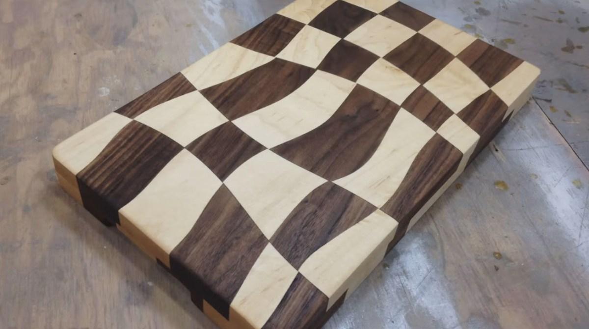 Swirly Checkered Wooden Cutting Board Make