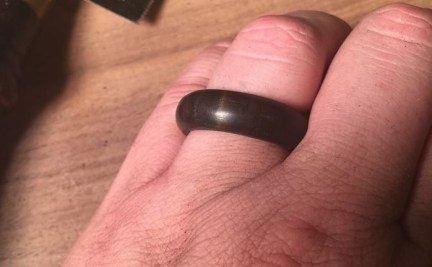 This ebony ring is lovely but it's a bit fragile. And I confess that I made a backup ring this time. :-)