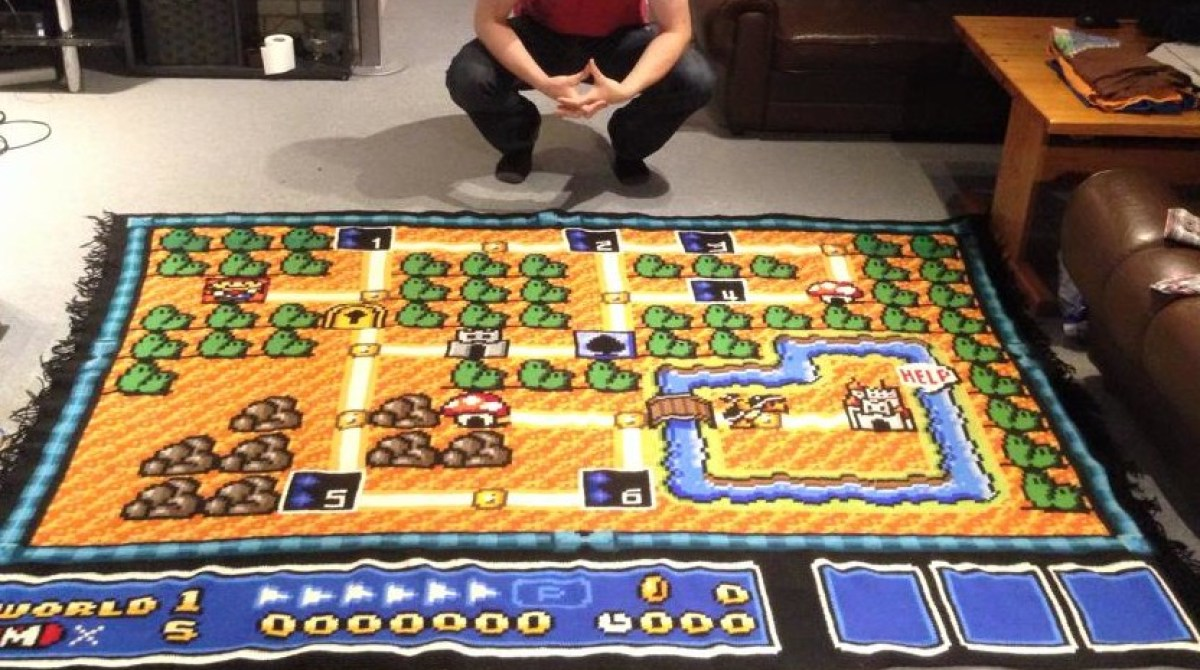 It Took 6 Years to Crochet This Amazing Super Mario Rug