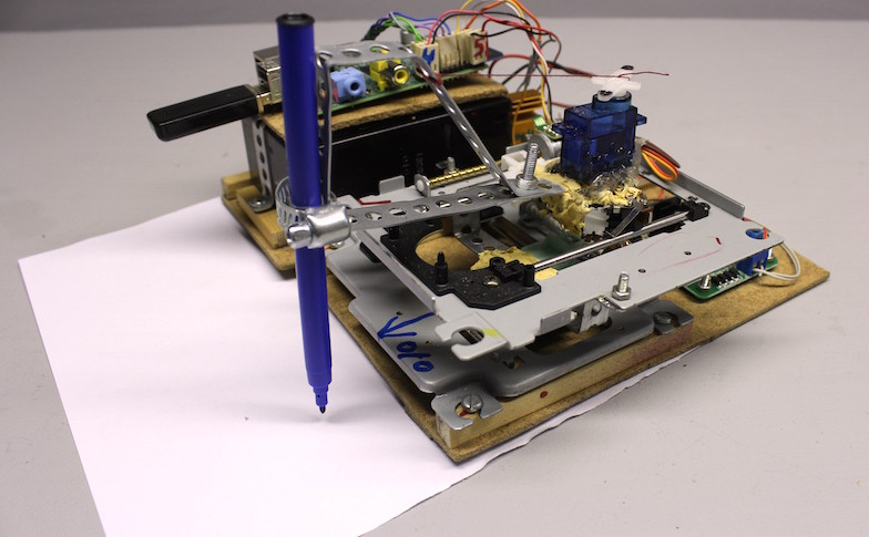 Build a Drawbot from Two CD Drives and a Raspberry Pi