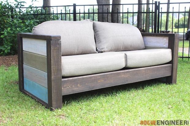Backyard Build Sturdy Wood Plank Loveseat Make