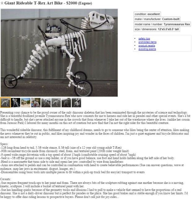 This Giant Rideable T-Rex Bike Is For Sale On Craigslist