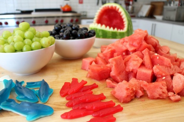 watermelon shark with fruit to stuff