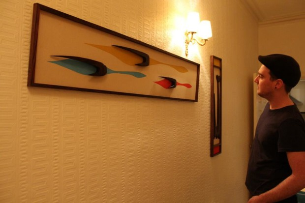 The finished pieces, hung to enjoy.