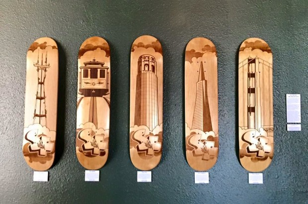 Laser Engraved Skate Decks on Display