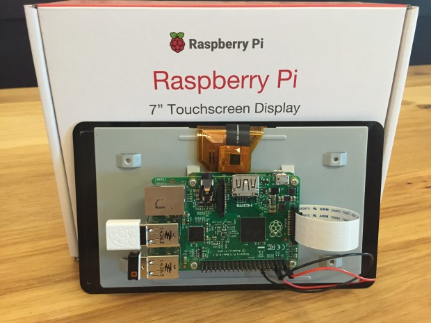 "Raspberry Pi 2 Model B mounted to the 7"" touchscreen display"