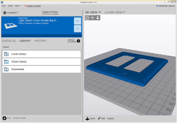 A preview of MatterControl's cloud storage system