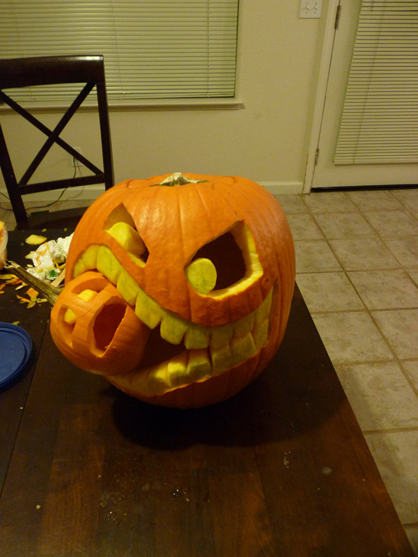 An artist from ChopCow designed their Cannibalistic Pumpkin using nothing but kitchen utensils and a washable marker.