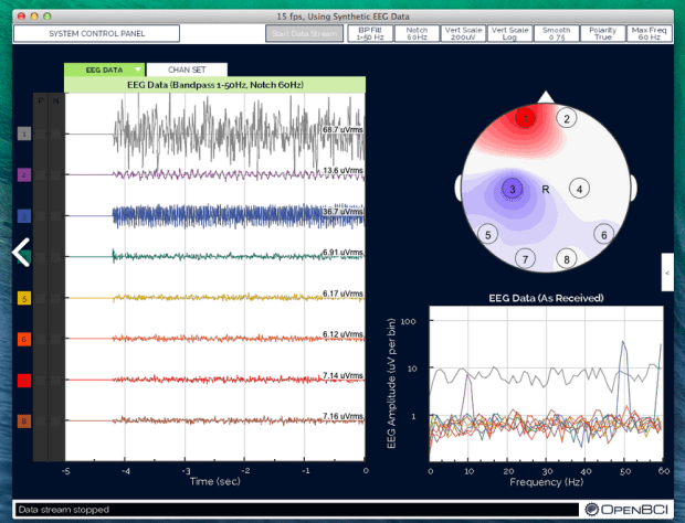 OpenBCI's Processing application showing brainwave activity