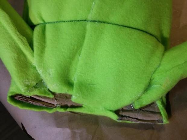 11-Underside_of_abdomen_cardboard&felt&hot-glue_Fiber-fill-felt pillow, using-cutout-stencil-as_template0segments_done_with_green-twine_HOT-GLUE-GOODlol