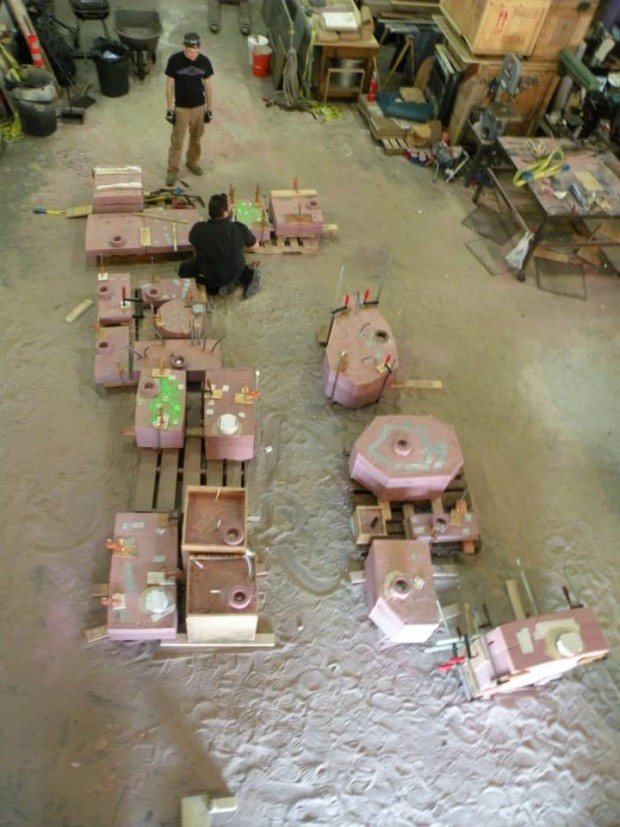 Moulds prepped for Molten Metal