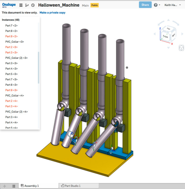 The final design, created in Onshape's cloud-based CAD system.