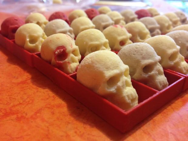Anna Kaziunas France's' 3D printed white chocolate skulls bring a new twist to Halloween candies.