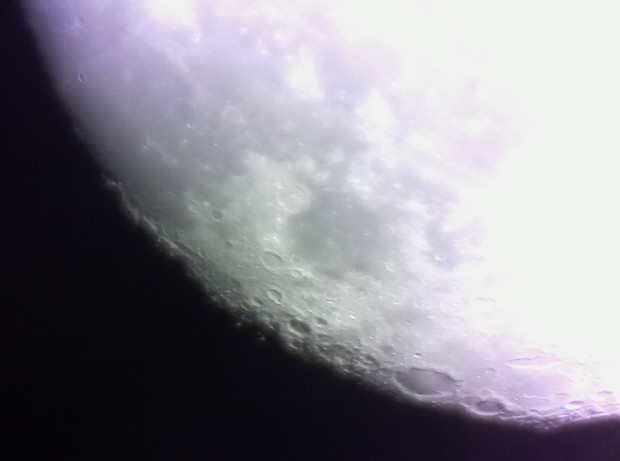 First light images from the prototype PiKon. The angle of view of the PiKon is about 1/4 degree, which is about half of the Moon. (Credit: Mark Wrigley)