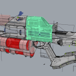 CAD design of the railgun. Everything in grey was 3d-printed.