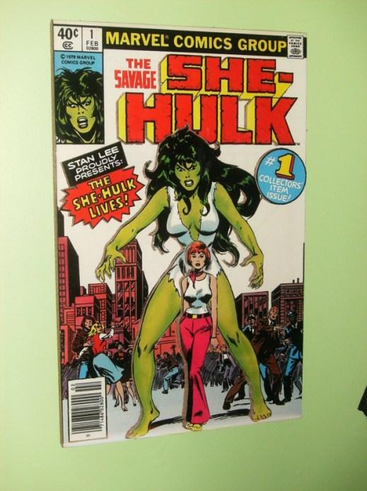 A cardboard multi-level cover of She-Hulk #1