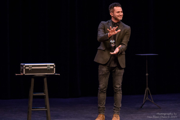 "Magician Justin Willman levitates a ""ball"". Photo: Yau-Man Chan"