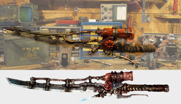 concept art on bottom, final result on top