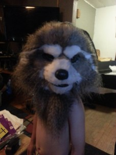 A test fitting with the fur applied, before giving it a good shave.