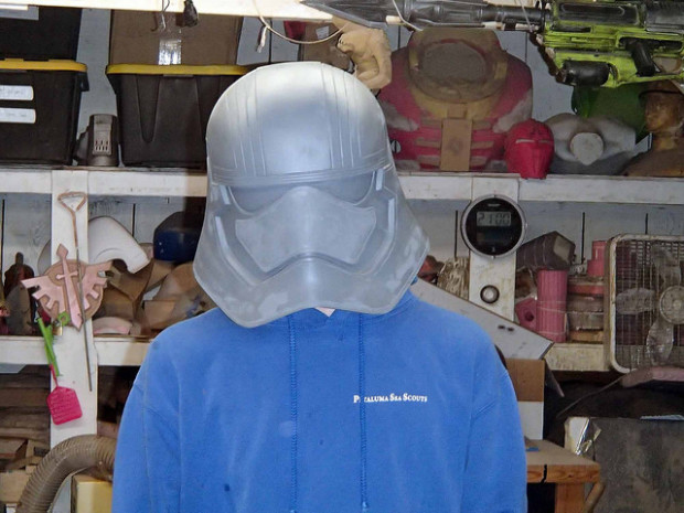 Things to come? It would seem Shawn is prototyping another Stormtrooper helmet, which may get a chrome-colored look. Captain Phasma perhaps?