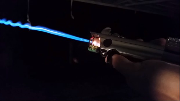 A real lightsaber at last? Image from Pan's Sufficiently Advanced YouTube channel.