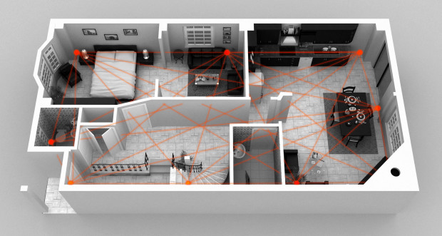 A radio tomographic mesh network. (Credit: XANDEM HOME)