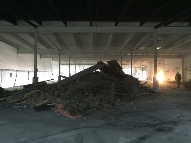 Demolition in the upper level. Photo by Will Holman.
