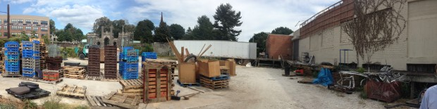 Panorama of Open Works' yard when first purchased. Photo by Will Holman.