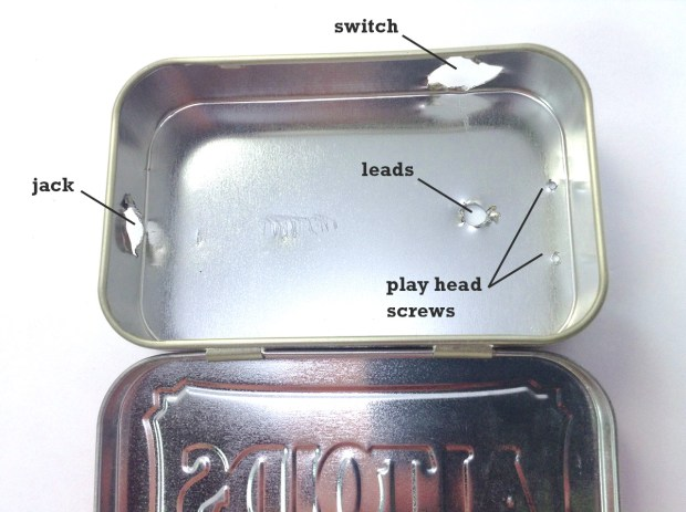 Figure 5-8: The distribution of holes in the enclosure, for the jack, the switch, the leads, and the play head screws. (Raggedy holes should work just fine.)