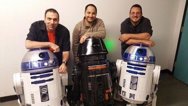 Left to Right, R2 builder Paul Gentile, R5-J2 Builder Dave Castellano, R2 builder Kevin Abato