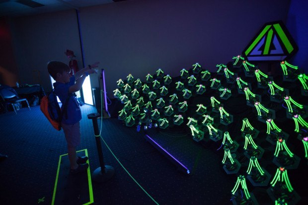 "Sarah Petkus & Mark Koch: http://lightplay.zoness.com/ ""The Robot Army in motion — Photo by Julian Kilker"""