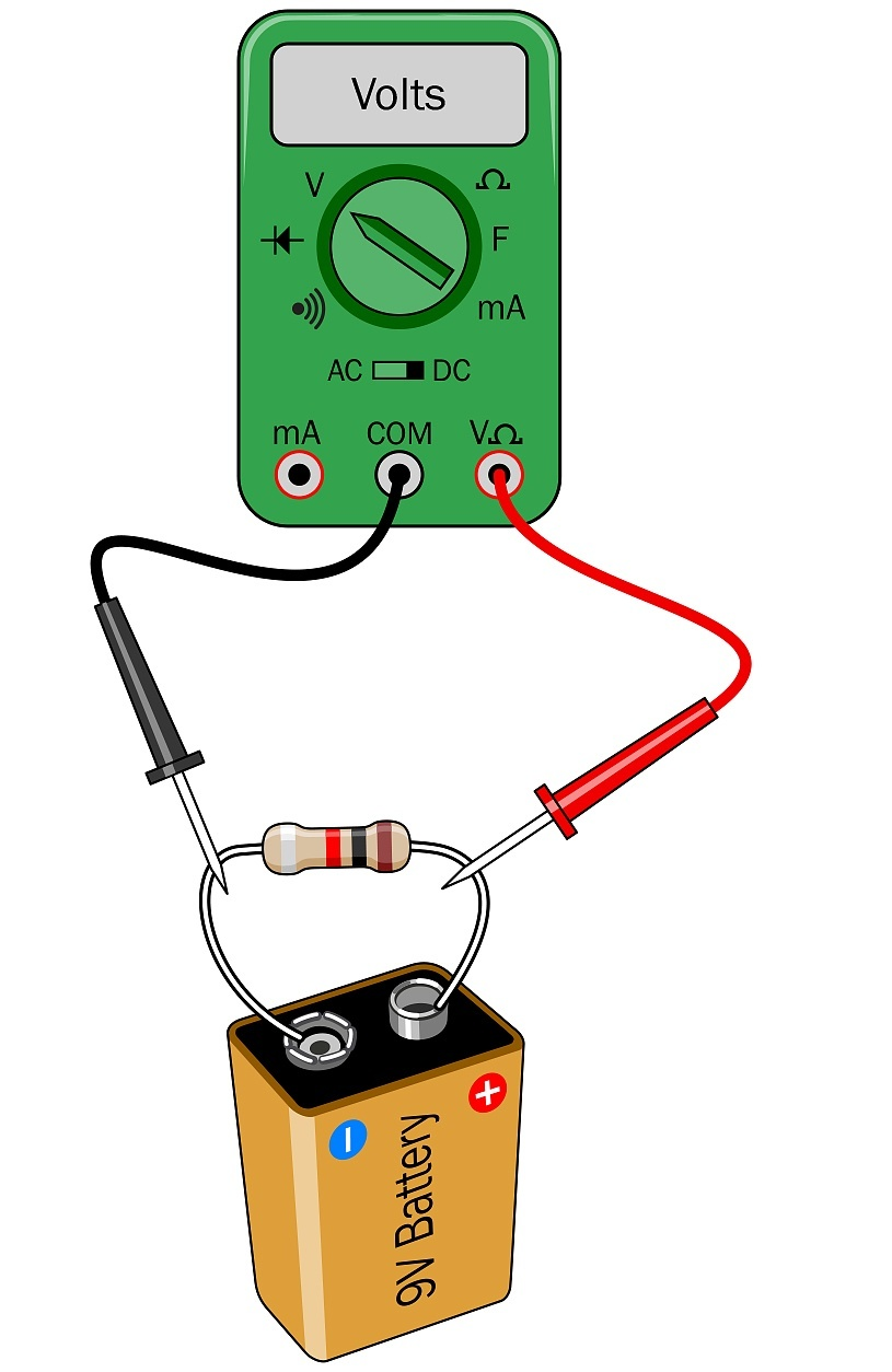 Multimeter Basics Measuring Voltage Resistance And Current Make Test Car Fuse Box Touch The Black Probe To Negative Side Of Power Supply Red Any Other Location In A Circuit Youll Monitor