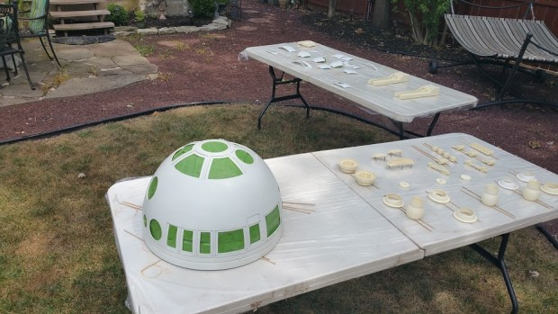 Dome and parts ready for painting.