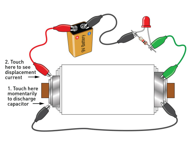 Figure G: Now you can witness displacement current, which passes through the capacitor. The long lead of the LED is on the right.